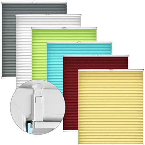 Home-Vision® Premium Plissee Faltrollo ohne Bohren mit Falzfix Halterungen Innenrahmen (Weiß, B40cm x H100cm) Blickdicht Sonnenschutz Jalousie für Fenster & Tür