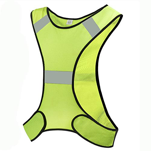 CHILEAF Reflective Running Vest Gear for Men Women, Adjustable 360° High Visibility Safety Clothing for Night Running, Jogging, Biking, Motorcycle, Walking
