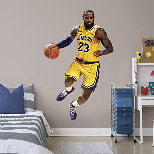 Fathead NBA Los Angeles Lakers LeBron James LeBron James- Officially Licensed Removable Wall Decal, Multicolor, Life-Size - 1900-00817-002