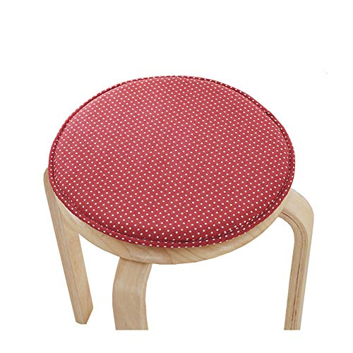 Pack of 2 Round Stool Pads Bar Stool Cushion Covers Seat Cushion with Ties Soft Sponge 13 Inch (Red Dot)