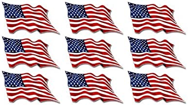 Sheet of 9: USA Waving Flag Stickers (American us Scrapbook Decals)