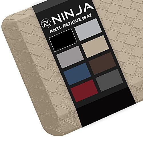 Ninja Brand Premium Floor Comfort Mat, Ergonomically Engineered, Extra Support Floor Pad, Commercial Grade Rug for Kitchen, Gaming, Office Standing Desk Mats, 17x24 Inches, Classic Khaki