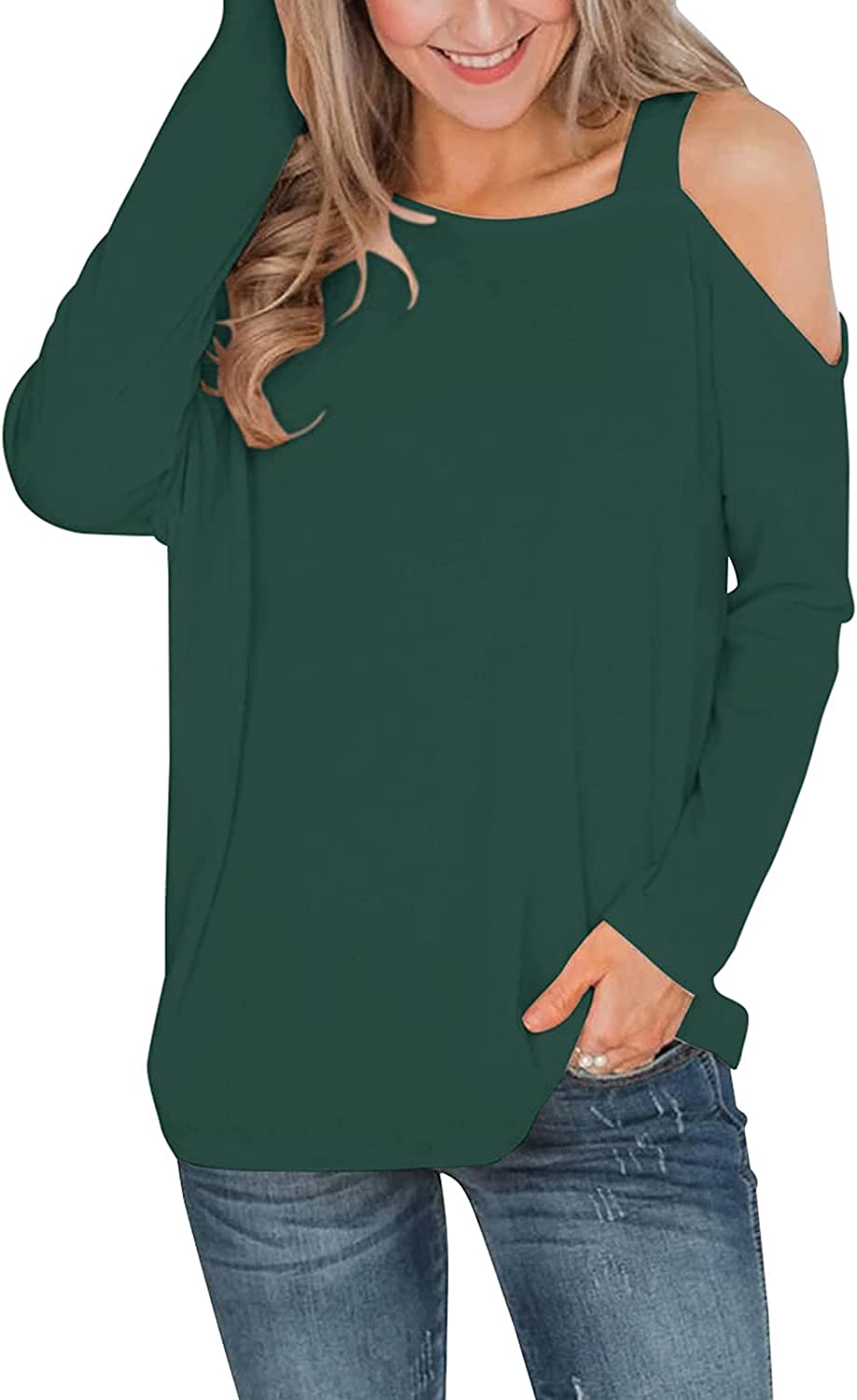 Cyanstyle Womens Long Sleeve Off Shoulder Tops Sexy Casual Boat Neck Tshirt Blouse