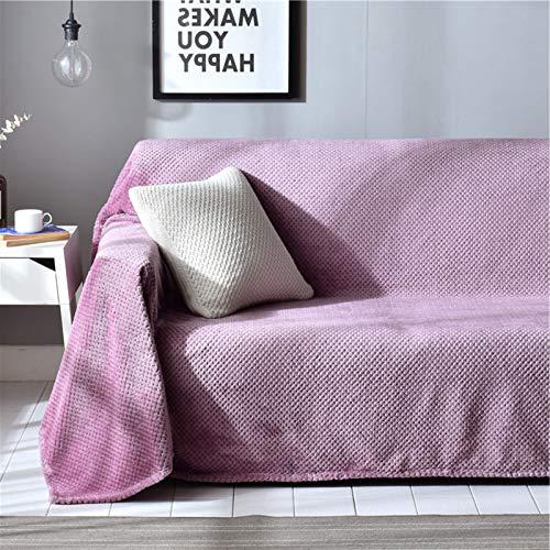 Lvbeis Funda Sofá de Peluche, Cubre Sofá Gruesa Cálida, Toalla de Sofá de Cubierta Completa Color Sólido, Arañazos Antideslizante de Gato Funda de Sofá Universal Protector del Sofá,Purple,200x180cm