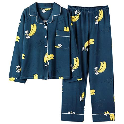 DFDLNL Conjunto de Pijamas de algodn de otoo para Mujer, Ropa de Dormir con Estampado de pltano Simple, Conjunto de Pijama Suave y cmodo para el hogar XXXL