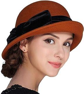 952b34e5a00 FADVES Women Elegant 100% Wool Felt Hat Bowknot Bowler Cap Retro Wide Brim  Church Hats