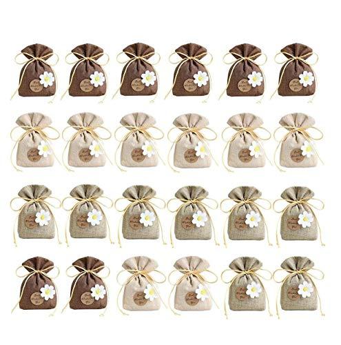 TATAFUN 24 Pezzi Sacchetti Portaconfetti con Fiori Bustine Piccoli Tela Regalo Bomboniere Portaconfetti Battesimo per Matrimonio Festa Gioielli( 10 * 14cm)