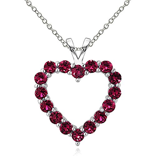GemStar USA Sterling Silver Synthetic Ruby Open Heart Necklace
