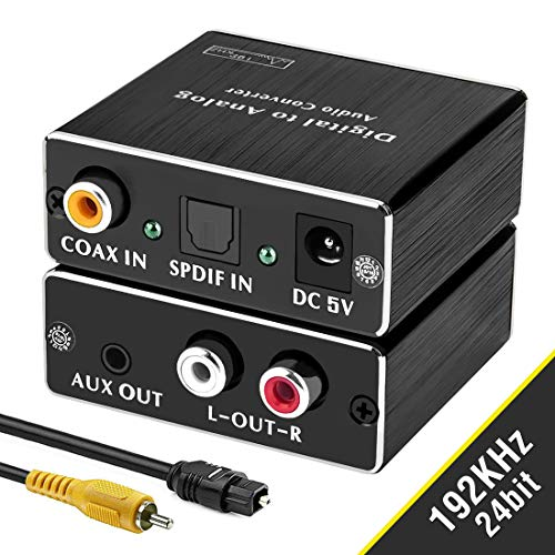 Digital-to-Analog Audio Converter, ROOFULL 192Khz DAC Digital Coaxial and Optical (Toslink/SPDIF) to Analog 3.5mm AUX and RCA (L/R) Stereo Audio Adapter DAC Converter with Fiber and Coax Cable