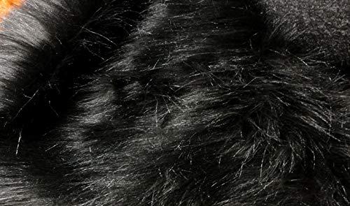 Stoffbook SCHWARZ LANGHAAR FLOKATI Fell DIY 50X75CM Requisiten FOTOSHOOTING Karneval Bekleidung, B710(schwarz)