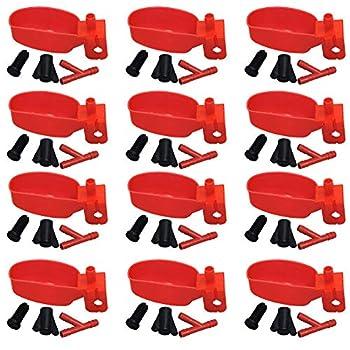Lucky Farm 10 Pcs Mangeoires pour Abreuvoir à Oiseaux, Abreuvoir à Eau pour Poulet, Distributeur de Tasses à Eau pour Animaux de Compagnie pour Pigeon Perroquet Caille (Rouge)