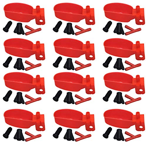MODUODUO 12Pcs Quail Water Cups Pigeon Automatic Bird Waterer for Cage Hang Drinker Breeding Poultry Drinking Bowls(Red)
