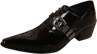 Bottes de Cowboy pour Hommes Chaussures en Cuir Bottines Chaussures d'uniformes Habillées Motard Noir Boucler Classique No...