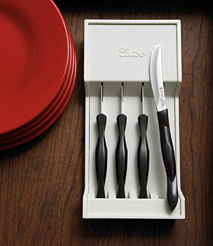 Cutco Table Knives Set of Four with Tray, Four of Cutcos Best-Selling Knife in a Dishwasher-safe Tray, 8.4 Inch Long, 3.4 Inch Double-D Serrated Edge Blades with 5 Inch Classic Brown Handles