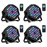 DJ Lights 36 LED RGB Uplighting 9 Modes Sound Activated Stage AOELLIT Par Lights with Remote Control Compatible with DMX, LED Up Lights for Wedding, Event, Party and Festival 4 Pack