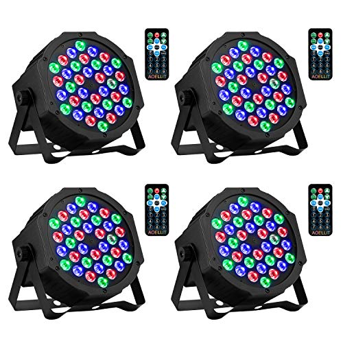 DJ Lights 36 LED RGB Uplighting 9 Modes Sound Activated Stage AOELLIT Par Lights with Remote Control Compatible with DMX, LED Up Lights for Wedding, Event, Party and Festival, 4 Pack