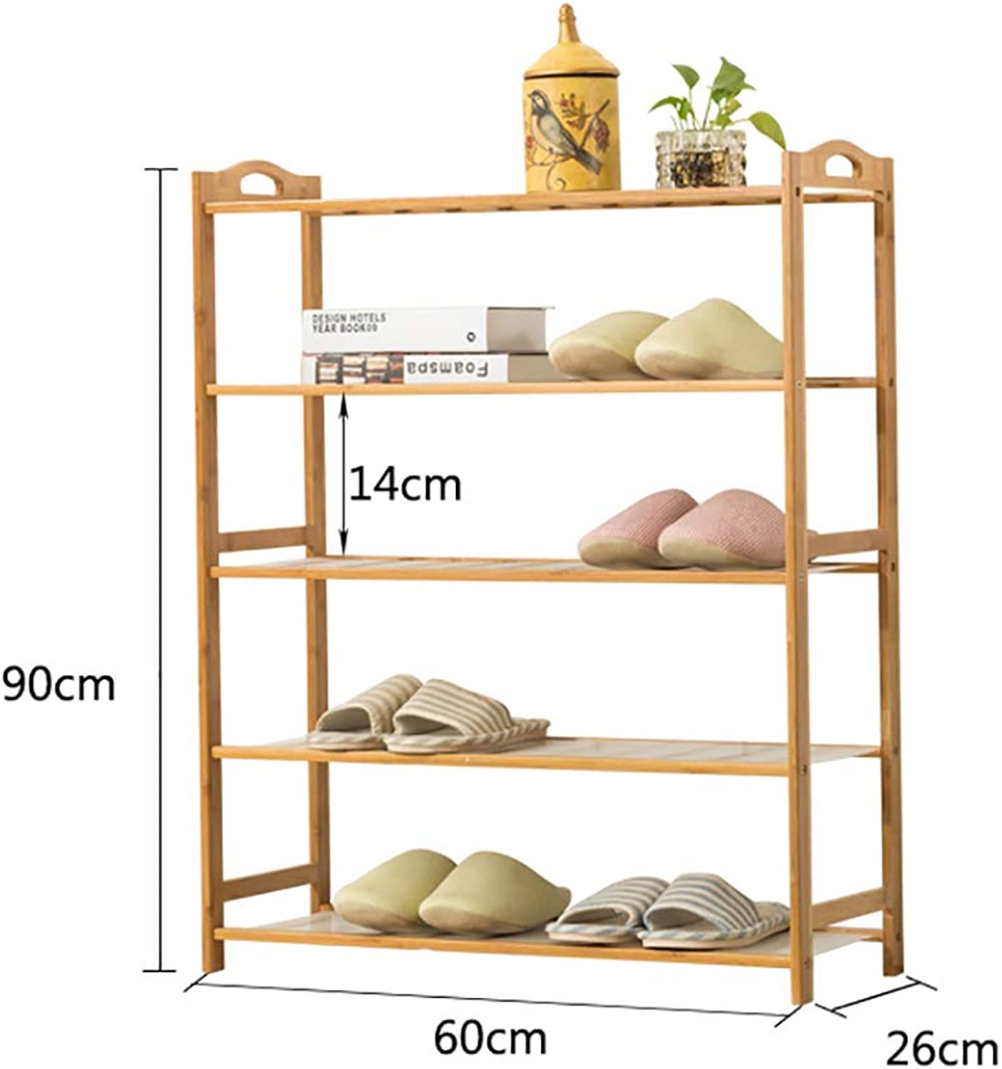 Entrance 5 Floor shoes Rack shoesbox shoes Bench Shelf Storage Shelf Hot Pot Rack shoesbox Multifunction Household Dorm Room Space Saving Doorway Living Room Bamboo (Size   60  26  90cm)