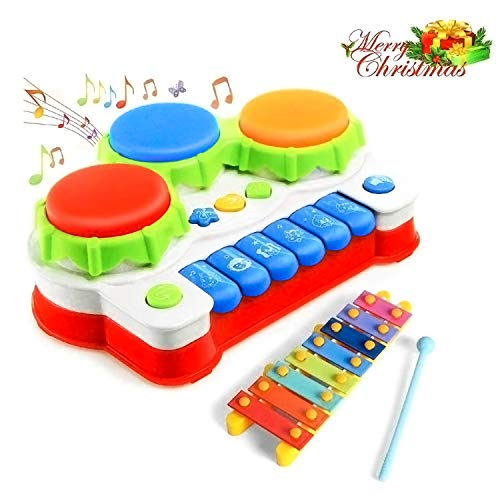 GoStock Music Learning Toys for Toddler 1 2 3 Year Old Baby Musical Instrument with Keyboard & Drum Mini Piano for Kids for Boys and Girls
