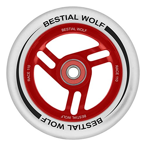 BESTIAL WOLF Rueda Race PU Color Blanco y Core Rojo, Diámetro 110 mm