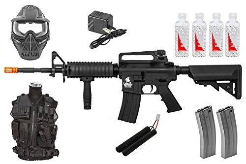 Airsoft Gun Starter Package – Includes AEG Rifle & Airsoft Kit for New Players (Black)