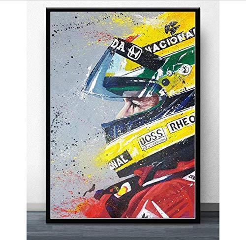 NOVELOVE Imagen de Arte de Pared F1 Fórmula Ayrton Senna Star Race Car Champion World Poster Print Canvas Painting Gift Sin Marco 40 * 60 cm