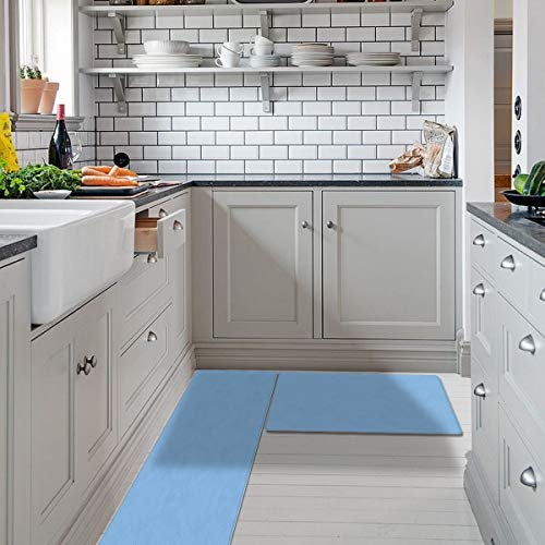 SODIKA Kitchen Mats Set Anti Fatigue Cushioned Kitchen Rugs and Mats Non Slip Comfort Standing Kitchen Floor Runner Rug Solid Color Sky Blue (18