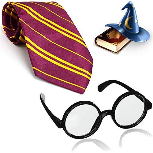 German Trendseller® - 1 x Deluxe - Zauberer - Set - ┃ Design Brille + Krawatte┃ Hexer Accessoire ┃ Fasching Karneval Kostüm ┃ Magier ┃ Für 1 Person