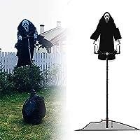 叫んでいるブラックローブゴースト、ハロウィーンスクレクロウガーデン装飾怖い幽霊ゾガーゾーリーゾウムシ怖いパーティー小道具2パック