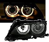 Faros delanteros Angel Eyes Set, cristal negro, con anillos de luz de posición