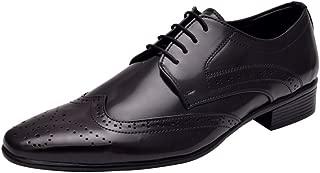 HiREL'S Men Black Derby Brogue Formal Shoes