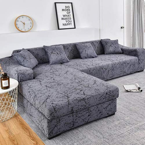 Sofa Überwürfe/Sofabezug/Couchbezug L Form/Sofaüberzug/Sofahusse/Sofabezug Ecksofa/Sofaüberwürfe/Couchbezug/Sesselbezug/Stretch Hussen L Form 1/2/3/4 Sitzer(Color :A ,Size: 3-Sitzer (190-230 cm)