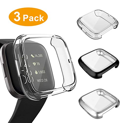 3 Pack Screen Protector Compatible Fitbit Versa 2 Case, GHIJKL Ultra-Thin Slim Soft TPU Protective Case All-Around Full Cover Bumper Shell for Fitbit Versa 2 Smart Watch, Clear,Black,Silver