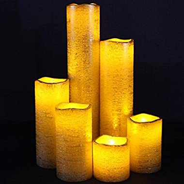 Gold Flameless Timer LED Candles - Slim Set of 6, 2  Wide and 2 - 9  Tall, Rustic Gold Coated Wax and Flickering Amber Yellow Flame by LED Lytes Flameless Candles