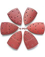 72 Piezas Papel de Lija,40/60/80/120/180/240 Granos Papeles,Con 11 Agujeros,Durable,Para Lija Pulido Metal/Madera