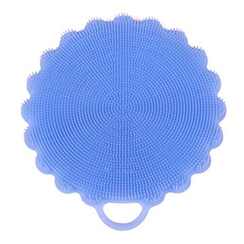 Kapmore Siliconen Scrubber Douchegel Multifunctionele Bad Scrubber Pot Houder Schaalborstel Scrubber Medium Blauw