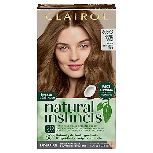 Clairol Natural Instincts Semi-Permanent Hair Dye, 6.5G Lightest Golden Brown Hair Color, 1 Count