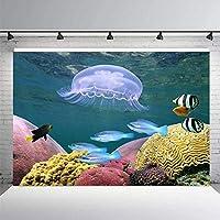 ZPC 7X5FT海の背景水中世界クラゲ色サンゴ熱帯魚写真の背景人魚のテーマ誕生日パーティーの装飾ベビーシャワー新生児キッズスタジオ