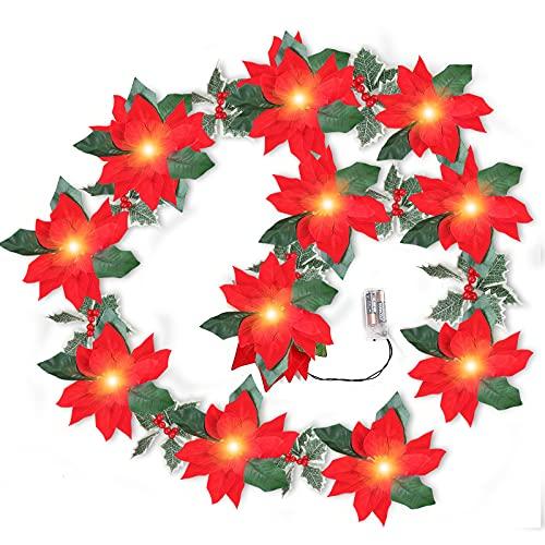 10 LED di Natale luci stringa di fiori rossi e bacche, 10 LED Berry Beaded Garland luci di natale a batteria per interni albero di Natale vacanza camini decorazione casa