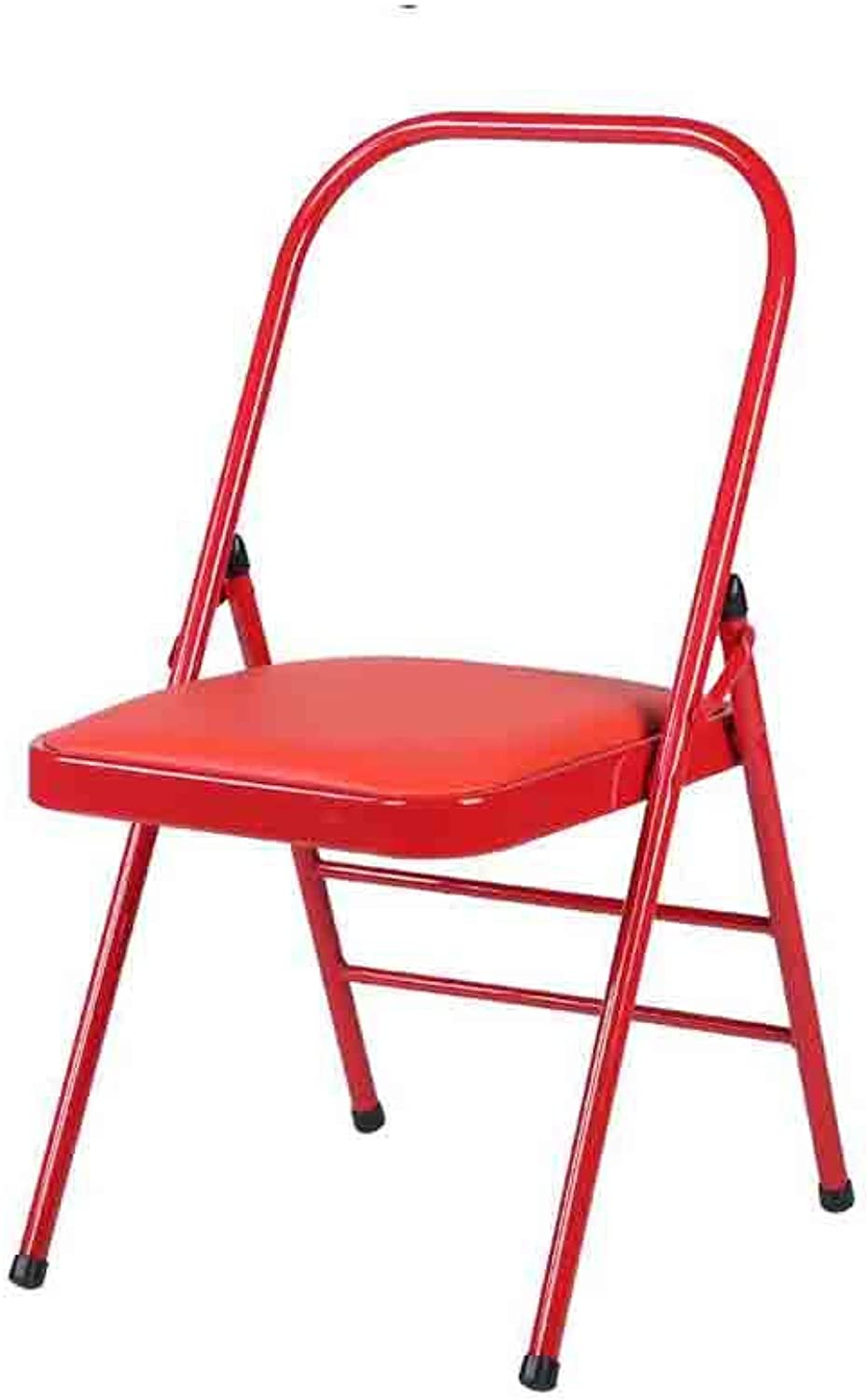 QIQI-LIFE Folding Chair,PU Padded Desk Chair,Quality Faux Leather Padded Strong Metal Frame Home, Office and Computer Back Rest Chair (color   Red)