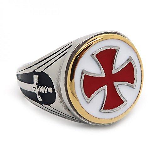 BOBIJOO JEWELRY - Ring Siegelring Templer Mann Vintage, Rotes Kreuz, Schwert Stahl Vergoldet Versilbert - 21 (11 US), Edelstahl 316