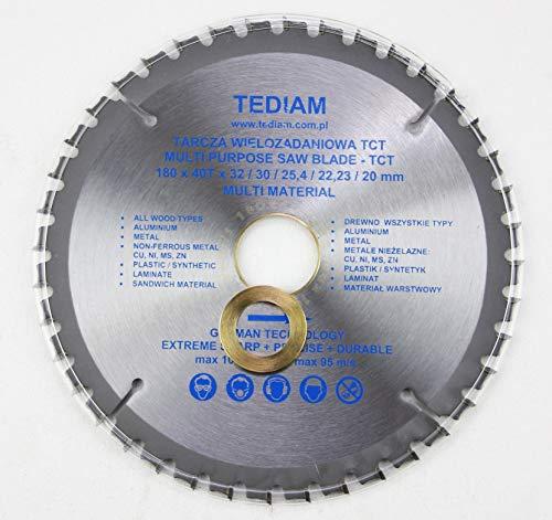 180x 32mm (30mm; 25,4mm; 22,23mm; 20mm) 40 Zähne Universal Kreissägeblatt für Holz, Kunstoff, Metall