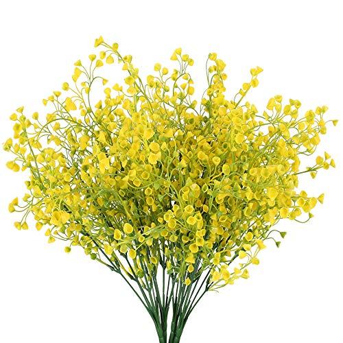 HUAESIN 4pcs Künstliche Blumen Deko Kunstblumen Draußen Kunstpflanzen Plastik Blumen Pflanzen Balkonpflanzen für Balkon Garten Innen Außenbereich Vase Blumenkasten Dekoration Gelb