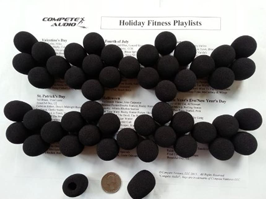 Compete Audio Foam Microphone Windscreens (Microphone Covers) 50-Pack Headset/Lapel (Lavalier) Fitness Center Pack Black