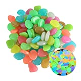 YoJiSa 10/50/100/200 Pcs Glow in The Dark Pebbles Luminous Glow Fluorescent Stones Rocks Cobblestones for Outdoor Plant Pots Vase Flower Pot Plants Aquarium Fish Tank Garden Home Decoration