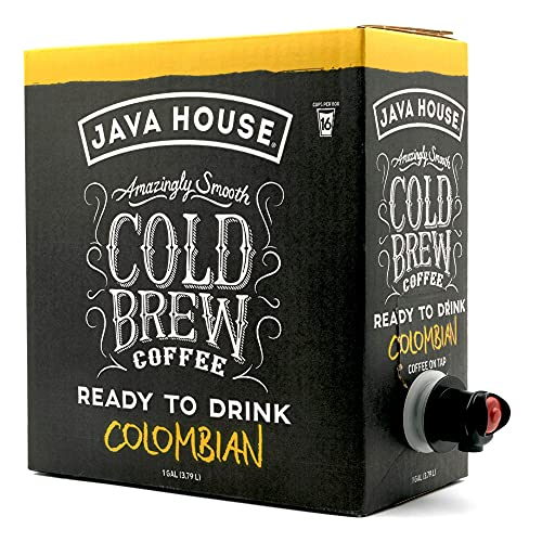 Gourmet Coffee Deals! - Java House Cold Brew Coffee On Tap, (1 Gallon / 128 Fluid Ounce Box) Not a Concentrate, No Sugar, Ready to Drink Liquid (Colombian Roast)