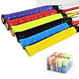DEXING 12 Pack Squash Grip, Tennis Racket Grip Tape with Anti Slip Perforated Super Absorbent Pu Racquet Grip, Pro Overgrip for Tennis Badminton (Multicolor)
