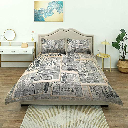 Rorun Duvet Cover,Vintage Style Sepia Toned Newspaper Print with Old Fashioned,Luxury Microfiber Bedding Set,Comfy Lightweight