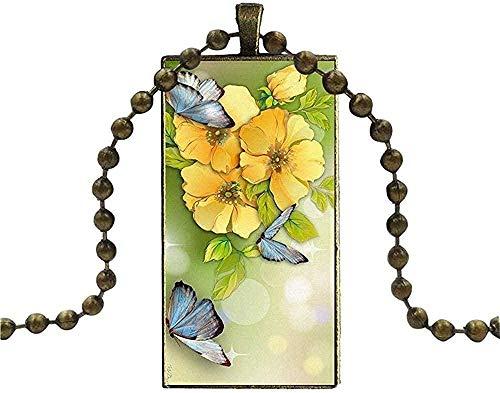 PPQKKYD Collar Collar Exquisito Popular Moderno de Las Mujeres Vidrieras Vintage Flor Amarilla Boda Collar Exquisito Popular Moderno Fashio