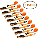Ohuhu 8 Pack Orange Ratchet Strap, Ratchet Tie Downs Logistic Straps - 15 Ft - 500 Lbs Load Cap with 1500lb Breaking Limit - Cargo Straps for Lawn Equipment, Moving Appliances, Motorcycle