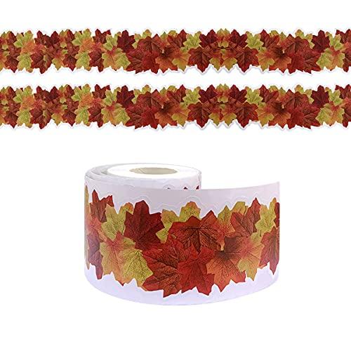 Borde adhesivo para tablón de anuncios de 19,8 m, borde de hojas de arce para hojas de arce/cosecha de otoño, decoración de la oficina